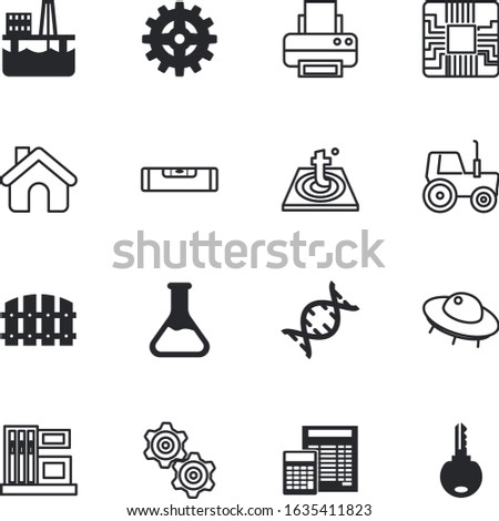 technology vector icon set such as: database, contemporary, chemical, component, concert, number, mystery, wooden, paling, production, astronomy, listen, people, social, biotechnology, derrick