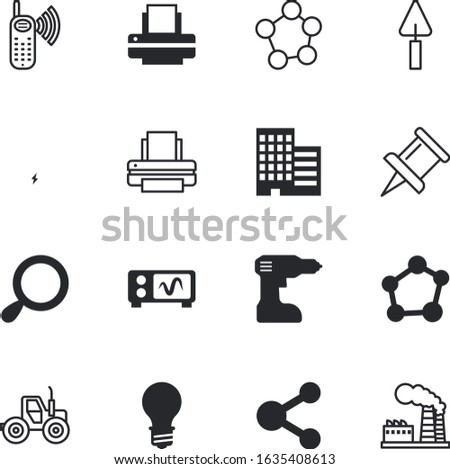 technology vector icon set such as: motor, bulb, auto, drilling, plug, mechanical, internet, car, search, biology, biotech, tractor, downtown, district, screw, bio, shine, shadow, discovery, phone