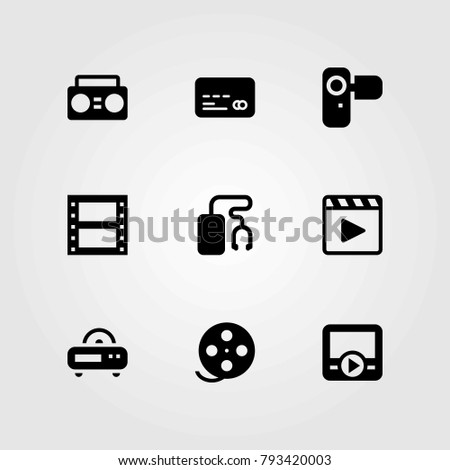 Technology vector icons set. music player, camcoder and radio