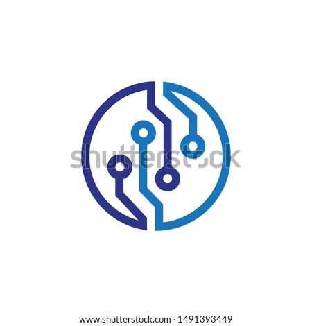 Technology - vector logo template for corporate identity. Abstract chip sign. Network, internet tech concept illustration