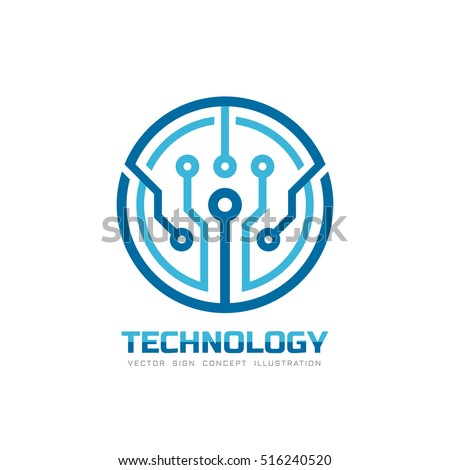 Technology - vector logo template for corporate identity. Abstract chip sign. Network, internet tech concept illustration. Design element.