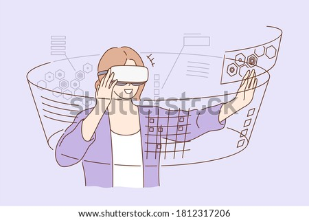 Technology, virtual reality, entertainment concept. Young happy smiling excited woman cartoon character standing with vr glasses goggles. Technological progress and modern lifestyle illustration.