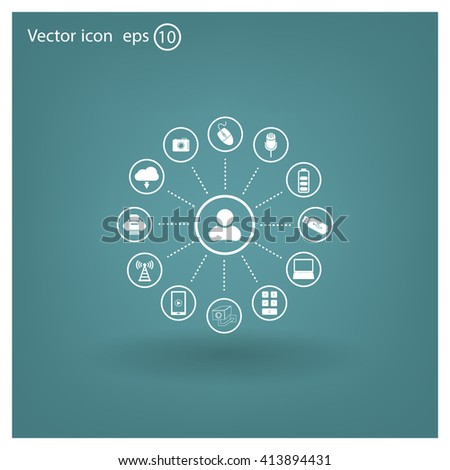 technology web icons set #413894431