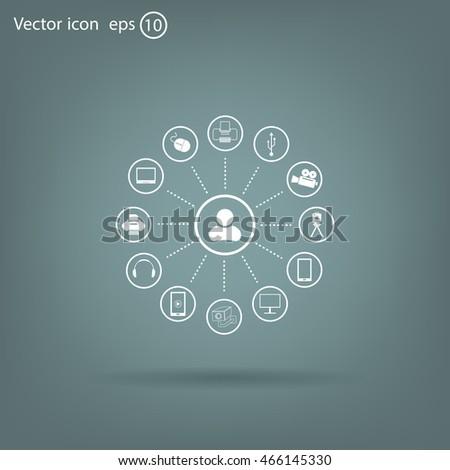 technology web icons set #466145330