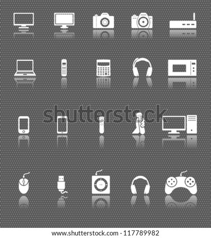 technology web icons set with reflections on dark background. computer and electronic devices