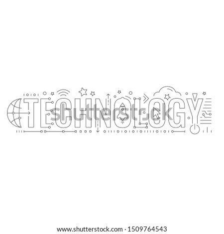 technology word and technology symbols. technology word technical drawing
