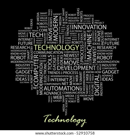 TECHNOLOGY. Word collage on black background. Vector illustration.