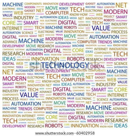 TECHNOLOGY. Word collage on white background. Illustration with different association terms.