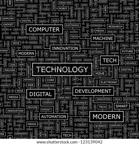 TECHNOLOGY. Word collage. Seamless vector illustration.