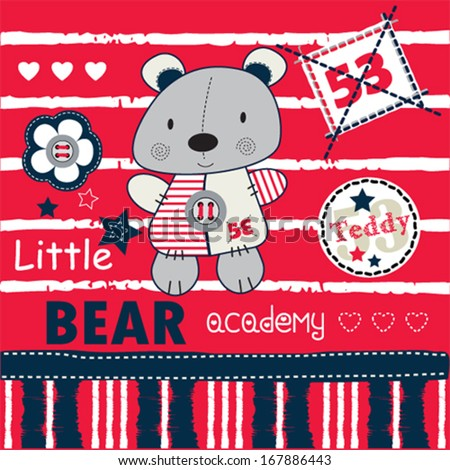 teddy bear academy background vector illustration