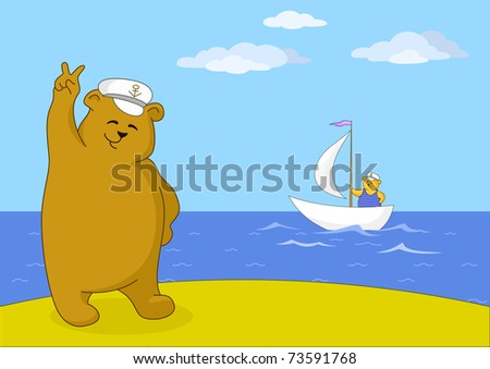 Teddy bear captain on seacoast shows victory sign