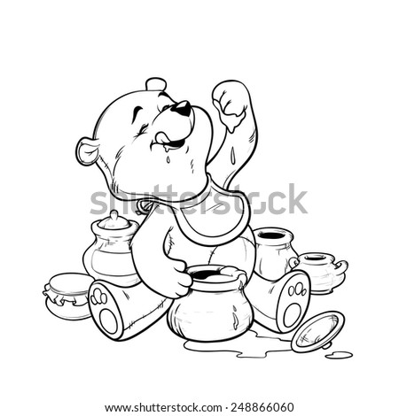 teddy bear eating honey from