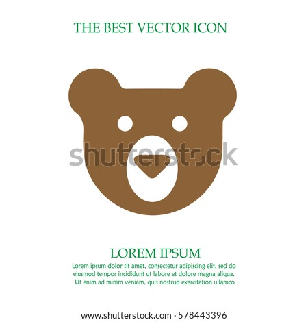 Teddy bear face vector icon eps 10. Simple isolated logo symbol.