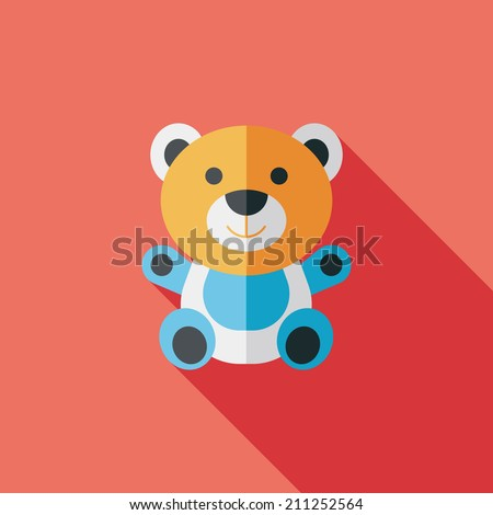 teddy bear flat icon with long