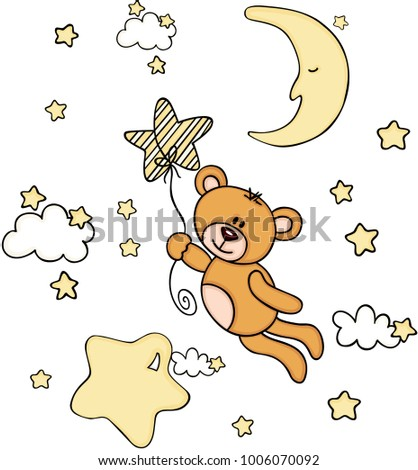 Teddy bear flying with star shaped balloon in sky