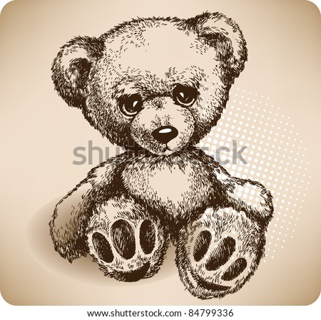 Teddy Bear Hand drawing. vector