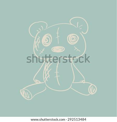teddy bear hand drawn