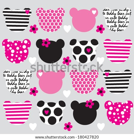 Teddy Bear Head Pattern Background Vector Illustration