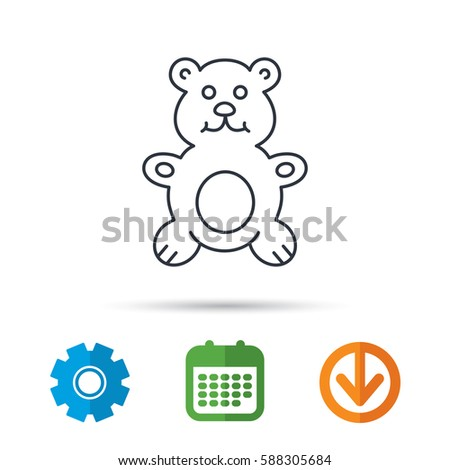 teddy bear icon baby toy sign