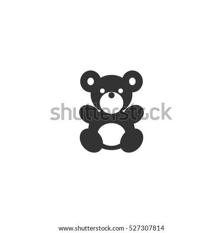 Teddy Bear icon flat. Illustration isolated vector sign symbol