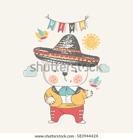 teddy bear in Mexican dress.hand drawn vector illustration.can be used for kid's or baby's shirt  design,fashion graphic,kids wear,baby shower card,celebration card,greeting card, invitation card