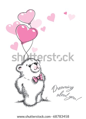 Teddy bear keeps the balloons in the form of hearts on a white background. Hand drawn illustration, vector. - stock vector