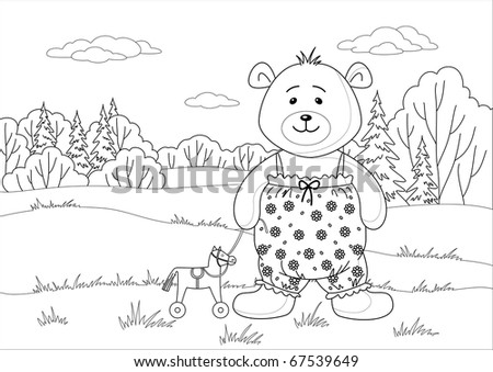 Teddy bear playing in summer forest with toy horsy, contours