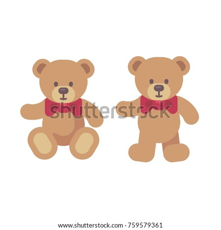 Stock Photo Teddy bear sitting and standing flat illustration. Christmas present icon