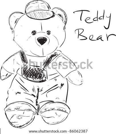 Teddy bear sketch cartoon vector illustration - stock vector