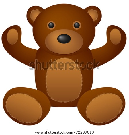 Teddy bear toy on a white background. Vector illustration.