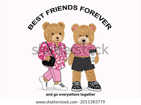 teddy bear vector art design hand drawn best friend forever fashion style sequin teddy bear red heart love yourself self confidence  slogan text and pink hearts design for fashion graphics, t shirt pr Photo stock ©