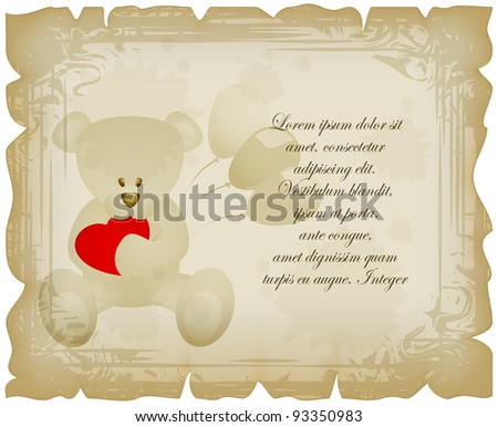Teddy bear with balloons and red heart on sheet in vintage style