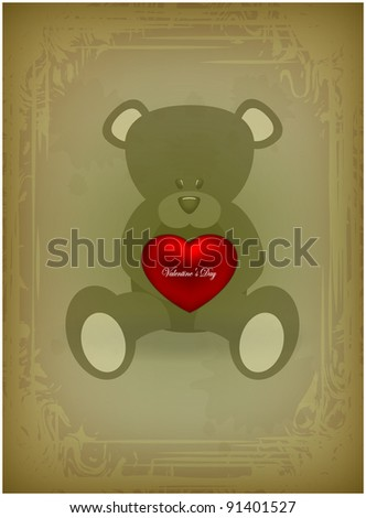 Teddy bear with heart on abstract vintage background