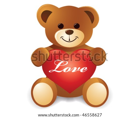 stock vector : teddy bear with red love heart