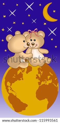 Teddy bears in love under the universe