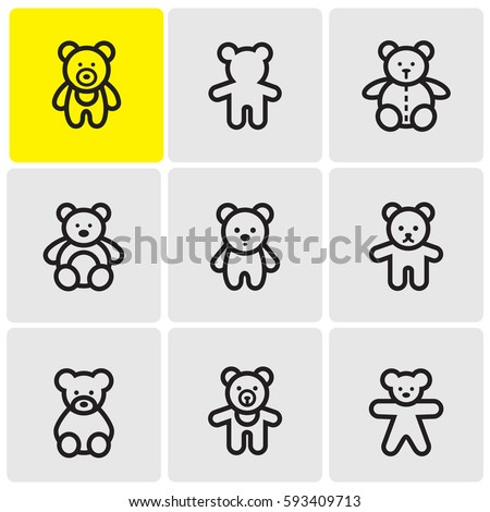 teddy bears line icons
