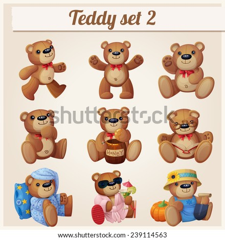 Stock Photo Teddy bears set. Part 2. Cartoon vector illustration