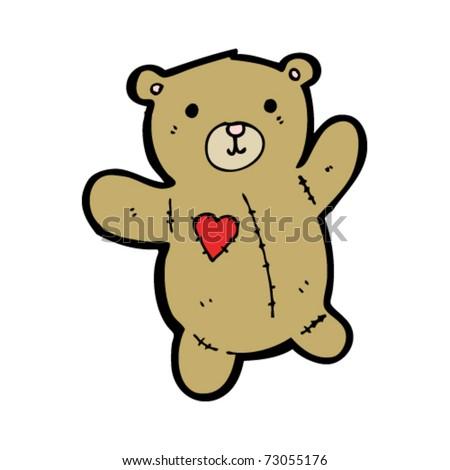 teddy with heart patch cartoon