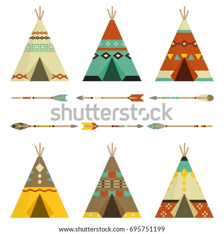 Tee pee And Arrows Rustic In White Background