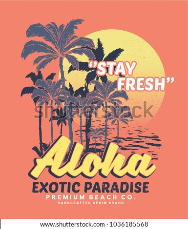 tee print design as vector with palm trees drawn
