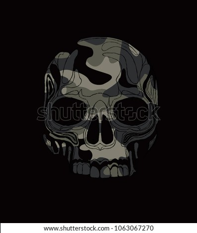 tee print design as vector with skull head drawn