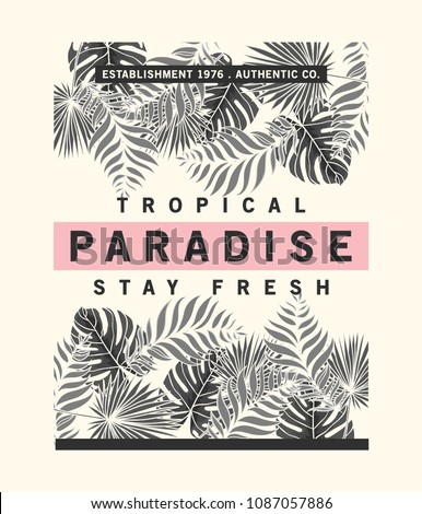 tee print vector design with tropical leaves texture