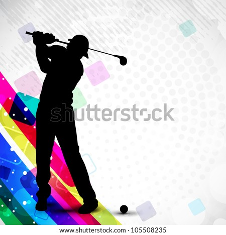 Tee Shot, silhouette of a golfer on creative abstract colorful and dotted background. EPS 10.