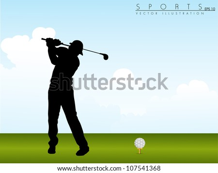 Tee Shot, silhouette of a golfer on green grass background. EPS 10.