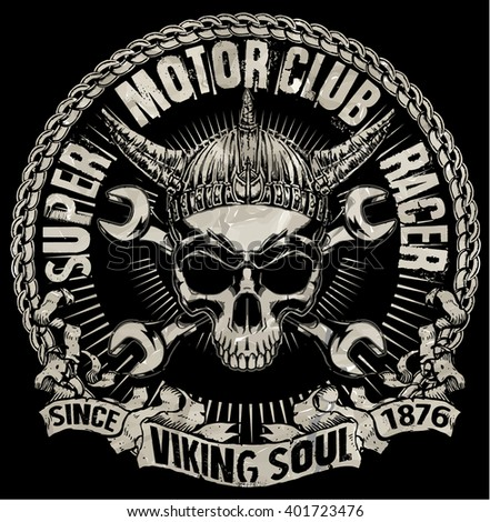 tee skull motorcycle graphic