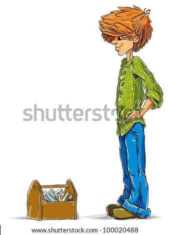 Teen boy cartoon with toolbox, vector.