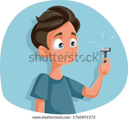 Teen Boy Holding Razor for First Shave Vector Cartoon. Teenager thinking about shaving stepping into boyhood  Сток-фото ©