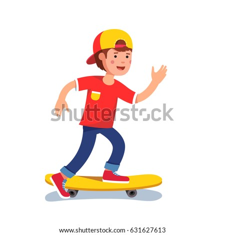 teen boy in baseball cap riding