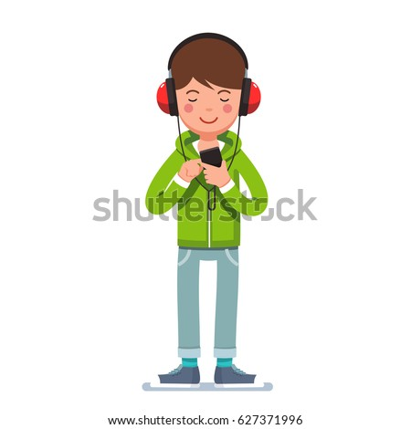 teen boy in big headphones