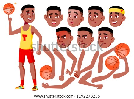 Teen Boy Vector. Black. Afro American. Teenager. Cute, Comic. Joy. Face Emotions, Various Gestures. Animation Creation Set. Isolated Flat Cartoon Character Illustration